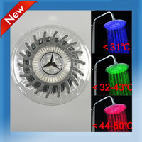new 2341# ABS Plastic New LED Light Round Rain Overhead Shower Head Bathroom Bath Sprinkler Glow Three Colors A3 Free Shipping