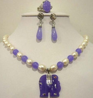 Cheap Oval Pearl White and Purple Jade Elephant Pendant Necklace Set QW541