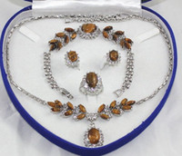 Bracelet,Earrings & Necklace Wedding party wigs Rare 18K White Gold GP Inlay Tiger's Eye Necklace Bracelet Earring Ring