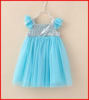 TuTu thanksgiving - 2014 Baby Girls Blue Frozen Sequin Dress Kids Summer Princess Dresses Lace Flower And Gauze Hem Dress Thanksgiving Christmas Children Dress