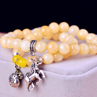 Charm Bracelets Natural crystal / semi-precious stones Citrine Free shipping Thai amulets agate natural citrine bracelet female multi immediately Lucky Lucky money bracelets jewelry