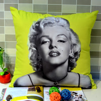 Yes uned Woven 45 *45 cm Home Decor Retro Vintage Photograph Marilyn Monroe Printed Microfiber Throw Pillow Case for Sofa Bedding, Yellow