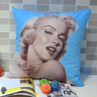 Yes Woven Home,Hotel,Other 45* 45 CM Retro Vintage Marilyn Monroe Pop Art Quality Peach Skin Fabric Throw Pillow Case Pillowcase for Sofa Bedding , Blue