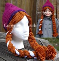 Boy Winter Crochet Hats Free Shipping Crochet FROZEN Anna Elsa Handmade Hat Newborn Toddler Kids Baby Girls Knit Cartoon Winter Animal Caps Children's Beanie Cotton
