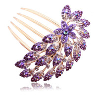Barrettes & Clips Fashion Hairwear High Quality 5 Colors Vintage Trendy Luxury Gorgeous Rhinestone Crystal Flower Hair Combs Bridal Hair Jewelry Accessories F163