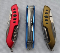 Wholesale 2014 Hot Design Swiss Army Knife functions mm Hunting Camping Folded Knife Rescue Tools Outdoor Survival Switzerland Red Saber Knife