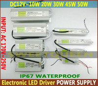 Wholesale DC V W W W W W Electronic LED Driver IP67 Waterproof Outdoor Lighting Equipment AC90 V Power Supply For Strip Light