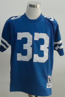 Football Men Short New Throwback Jerseys #33 Jersey Blue And White By M&N Size 48-56 Stitched Mix Match Order American Football JERSEY
