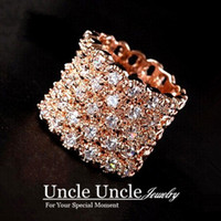 Wholesale Super Luxury K Rose Gold Plated Austrian Crystals Fully Inlaid Hollow out Wide Lady Finger Ring Gold Silver