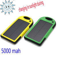 For Cell Phone solar power cell phone battery chargers - Weatherproof Dustproof mAh Solar Charger and Battery Solar Panel Dual USB power bank External Battery for Cellphone Laptop MP4 Mobile