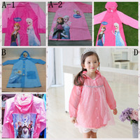 Wholesale 2014 Frozen Children Raincoat Snow Queen Princess Elsa Anna Waterproof Jacket Frozen Fashion Baby Girls Clothes Blue Gauze Coat Rainwear