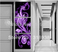 Oil Painting Fashion Unframed Framed Hand Painted 3 panels purple flowers group oil painting canvas art home decor wall art Free shipping AF167