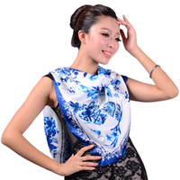 Scarves Yes Floral 2013 Women Large White and Blue Porcelain Pattern Crepe Satin Plain Silk Scarf,Fashion Autumn Silk Square Shawl Scarf 108*108cm