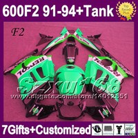 Comression Mold For Honda CBR600 F2 +Tank For 1992 1993 HONDA CBR600F2 CBR600RR 91 92 93 94 Repsol green black 1991 1994 CBR600 SZ2057 CBR 600 F2 600F2 91 92 93 94 NEW Fairings