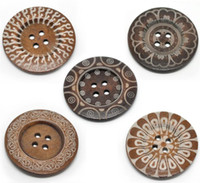 Wholesale 10 Mixed Pattern Holes Wood Big Sewing Buttons for Sweater Overcoat cm B19216