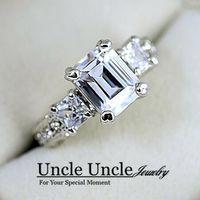 achat en gros de zircone anneau blanc-18K Or blanc Plaqué Sparkly autrichienne Zircon strass Rectangle luxe Lady Wedding Ring