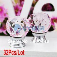 Ceramic Furniture Handle & Knob new Wholesale 32Pcs Lot 30mm Glass Crystal Cabinet Knob Drawer Pull Handle Kitchen Door Wardrobe Hardware Clear Pink TK0739