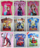 new clothes styles - New style Summer Frozen short sleeves cotton T shirt Kids Despicable me Tee clothes childrens fashion printing cartoon Tee tops