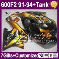 Comression Mold For Honda CBR600 F2 For HONDA Gold CBR600F2 91 92 93 94 1991 1994 CBR 600 F2 CBR600 SZ1982 1992 1993 Golden black CBR 600F2 91-94 Fairing+Tank+7gifts