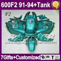 Comression Mold For Honda CBR600 F2 91-94 For HONDA ALL Cyan CBR600F2 CBR 600 F2 CBR600 Glossy cyan SZ1983 91 92 93 94 1991 1994 CBR 600F2 Fairing Free Tank+7gifts