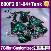 Comression Mold For Honda CBR600 F2 91-94+7gifts For HONDA CBR600F2 1992 1993 CBR 600 F2 Free Tank SZ1948 CBR600 CBR 600F2 Green black 91 92 93 94 1991 1994 Top Fairings