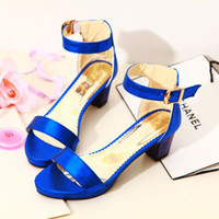 Women Pumps Summer 2014 new spring and summer sweet crude hasp open-toed women sandals with college wind candy colors in shoes with sequins