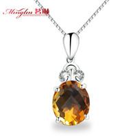 Bracelet & Necklace Natural citrine  Natural citrine time love 925 pure silver pendant necklace female jewelry, fashion accessories clavicle