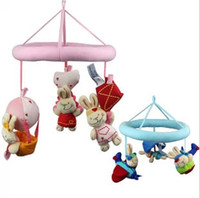 Cloth Blue,Pink Unisex Wholesale-OP-Stock Clearance ! Brand New Chicco Baby Mobiles Infant Lathe Bed Hanging Soft Plush Stuffed Animal Pink Blue Rabbit Doll Retail