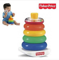 Wholesale OP HOT selling Retail baby toys Fisher price Stack Up Nesting Rainbow Tower Ring Learning Toy Kids Baby