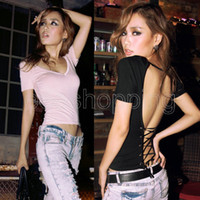 Women V-Neck Regular PQ759 New Fashion Women's ladies V-Neck Short Sleeve Backless Corset Top Ribbon Cross T-shirt Bare Back Sexy Shirt Pink Black