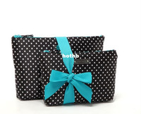 Wholesale OP Set of Fashion Satin Cosmetic Bags Black Color w Dotted Pattern for Women Handbag Makeup Storage Bags