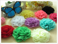 Wholesale 30pcs color chiffon lace ruffles flower for newborn baby hair accessories wave hair flower for headband