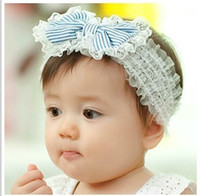 Hair Sticks Lace Bow Wholesale-Lace Stripe Big Bow Headbands Baby Hair Ornaments Photograph Accessories