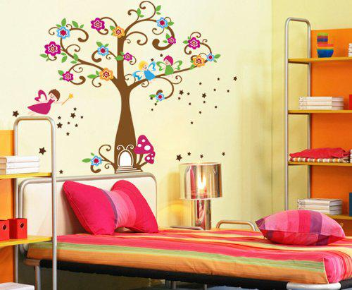 Tree kids room decor wall stickers happy angels colorful flowers girls cartoon decorative wall - Child bedroom decor ...