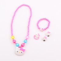 Bracelet,Earrings & Necklace baby pearl bracelet white pink - Candy Color Children Hello Kitty Necklace Jewelry Set Simulated Pearl Girl Kids Baby Necklace Bracelet Ring Earrings Set ZST45
