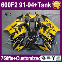 Comression Mold For Honda CBR600 F2 +Tank Yellow black For HONDA CBR600F2 1992 1993 new!! CBR600RR CBR600 91 92 93 94 1991 1994 SZ2041 CBR 600 F2 600F2 91 92 93 94 COOL Fairing