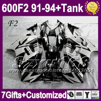 Comression Mold For Honda CBR600 F2 +Tank For 1992 1993 HONDA CBR600F2 Black grey CBR600RR 91 92 93 94 1991 1994 CBR600 SZ2054 CBR 600 F2 grey ! 600F2 91 92 93 94 NEW Fairings