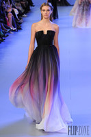 Wholesale 2014 Elie Saab Ombre Pleats Prom Dresses A Line Strapless Sleeveless Evening Gowns Formal Dress