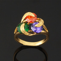 Wholesale Trendy New Zircon Ring Women Gift Fashion Jewelry K Real Gold Plated Colorful AAA Swiss Zirconia Rings R111a