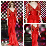 Reference Images V-Neck Elastic Satin Sexy V-neck Red Lace Top Zuhair Murad Dresses For Sale Lace Zuhair Murad Red Three Quaters Sleeve Evening Dress