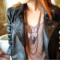 Wholesale Order is USD Can Mixed Order Trendy Punk Leaf Necklaces sweater chain