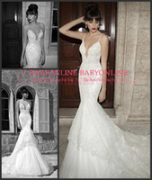 Trumpet/Mermaid Reference Images Spaghetti 2015 Berta Backless Mermaid Wedding Dresses Sexy White Spaghetti Straps Lace Tulle Appliques Glitz Summer Chapel Train Bridal Gown BE1402