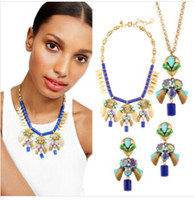 Wholesale ashion jewelry set long necklaces statement necklace high quality beaded necklace with stud earings