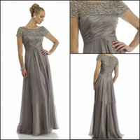 Wholesale 2014 Hot Sales Long Chiffon Mother of the Groom Dresses Short Sleeve Beading Rhinestone Ruffles Empire Scoop Neckline Floor Length