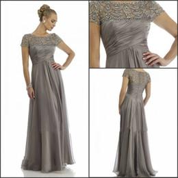 2014 Hot Sales Long Chiffon Mother of the Groom Dresses Short Sleeve Beading Rhinestone Ruffles Empire Scoop Neckline Floor Length