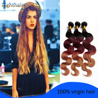 Cheap hot!!Brazilian Hair Extensions Ombre Hair Three Tone Hair Weft Body Wave lot Free Shipping virgin hair weft