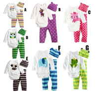 Unisex Spring / Autumn  Wholesale -boy's Jumpsuits hat pants Baby pajamas girl's suit clothing The long sleeve bodysuit Newborn 3PCS Sets --LWQ969G