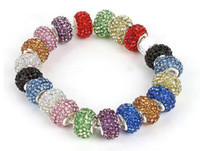 Wholesale Pandora mm Multicolor Resin Rhinestone Beads Silver Plated Core Crystal Loose Beads Fit Braceles