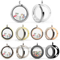Wholesale floating locket with crystal magnetic mm stainless steel glass