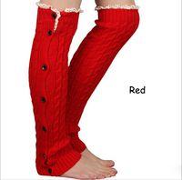 Wholesale New Crochet Lace Trim Button Down Braid Leg Knit Warmers Boot Socks Knee High M1082